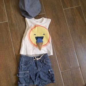 6-12m Baby GAP chambray shorts and tank